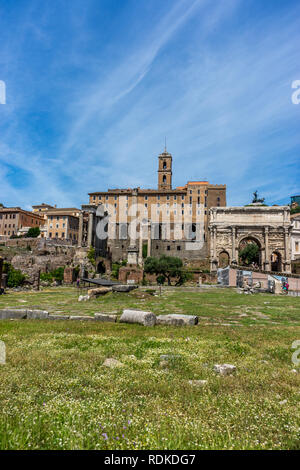 Rome, Italy - 24 June 2018: The ancient ruins of Temple of Apollo at the Roman Forum, Palatine hill in Rome - Stock Image