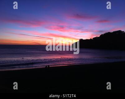 Spectacular color sunset in Muir Beach, California. - Stock Image