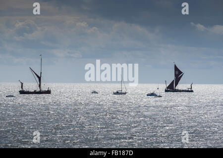 sailing barges from Clacton on sea - Stock Image