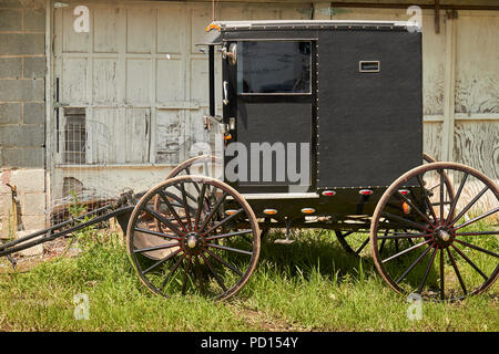 A black, Old Order Mennonite buggy from Lancaster County, Pennsylvania, USA. NOT Amish! - Stock Image