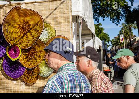 Fort Lauderdale Ft. Florida Las Olas Boulevard Las Olas Art Fair festival street fair community event art glass colored tent man - Stock Image