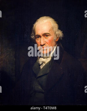 James Watt (1736-1819) portrait of the engineer, inventor of the steam engine by John Partridge, after Sir William Beechey 1806 - Stock Image