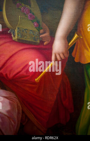 Close up of very old baroque paintings. - Stock Image