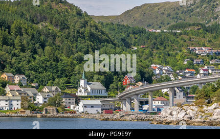 View of Maloy, Norway with bridge connecting it with mainland. - Stock Image