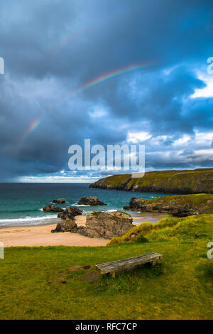 Rainbow Over Sango Bay Beach At The Village Of Durness In Scotland - Stock Image