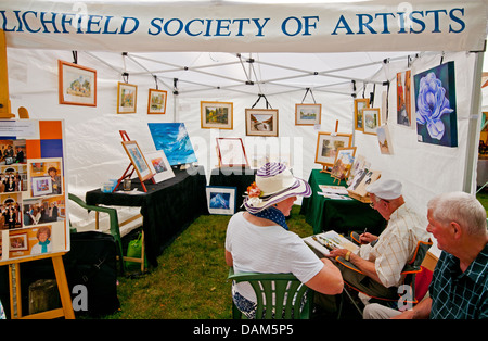Lichfield Society of Artists display stand in the Florette Festival Market as part of The Lichfield Festival 6th - Stock Image