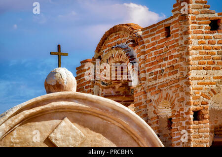 Chapel cross. Tumacacori National historical Park. Arizona - Stock Image