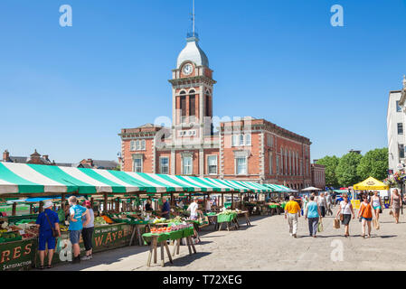 Chesterfield market in the town centre outside the Market hall Chesterfield Derbyshire England UK GB Europe - Stock Image
