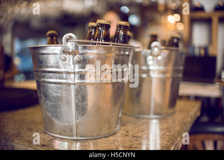 Beer bottles in ice bucket - Stock Image
