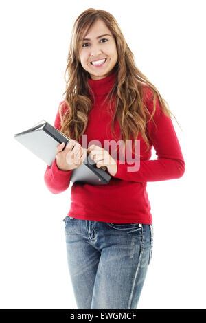 Stock image of casual female student isolated on white background - Stock Image