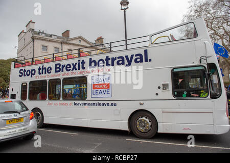 London, United Kingdom. 15 January 2019. Protesters gather outside of Houses of Parliament ahead of the critical Brexit vote. Credit: Peter Manning/Alamy Live News - Stock Image