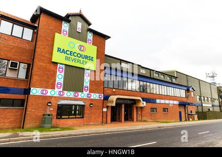 Beverley Racecourse Yorkshire horse racing course UK England horse racing courses UK entrance building - Stock Image