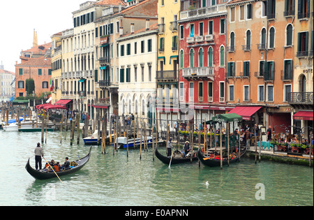 Venice, Italy. Gondolas with Gondoliers on the Grand Canal (canale grande). - Stock Image