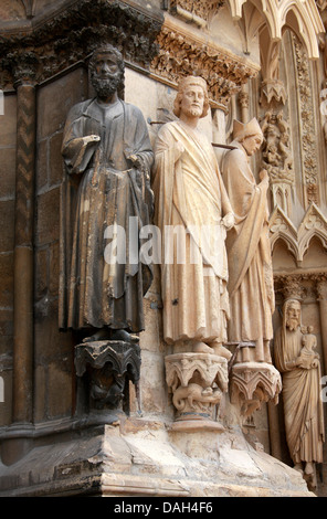 Statues to the Right of the Central Portal of Reims Cathedral Entrance and the Right Portal, Marne, Champagne-Ardennes, - Stock Image