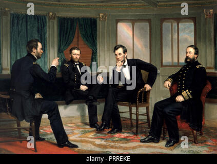 President Abraham Lincoln (center right) with, from left, Generals Sherman and Grant and Admiral Porter in The Peacemakers, an 1868 painting of events aboard the River Queen in March 1865 - Stock Image
