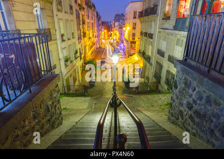Montmartre staircase, Paris, France - Stock Image