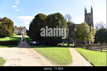 Chawton House Library (left) & St Nicholas Church, Chawton, near Alton, Hampshire, UK. - Stock Image