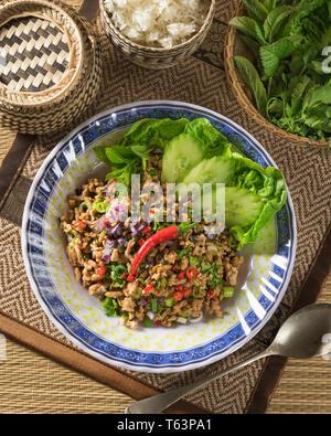 Larb. Minced pork and herb salad Laos Food - Stock Image