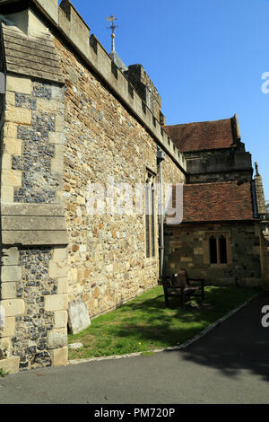 Side wall of St Mary's Church, Church Square, Rye, East Sussex, UK - Stock Image