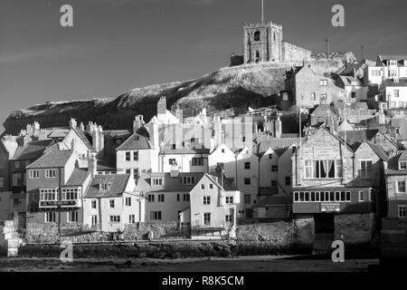 Ghostly light on St Marys church, East Cliff, Whitby, North Yorkshire, UK - Stock Image