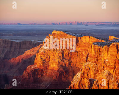 Palisades of the Desert viewed from Desert View overlook, Grand Canyon National Park. Painted Desert and Vermilion Cliffs in distance. - Stock Image