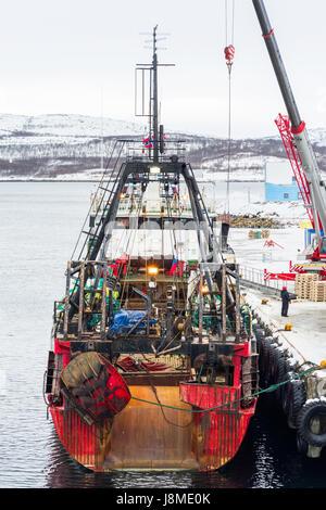 Russian whaling vessel docked in Kirknes, Norway. - Stock Image
