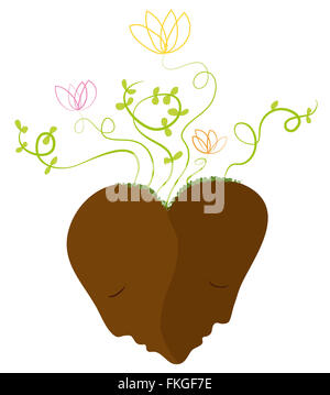 Heart, connected faces. Tranquillity, love and growth. - Stock Image