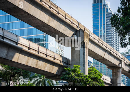 Concrete construction of the skyline train way in Bangkok, Thailand - Stock Image