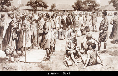 EDITORIAL ONLY  A market scene in Kikuyu, Kenya, 19th century. After a work by J. Macfarlane. From a contemporary print c.1935. - Stock Image