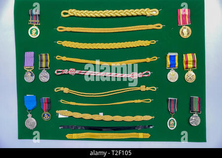 February 18, 2019 - Abu Dhabi, UAE: Generic Navy / army uniform badge / accessories at display - Stock Image