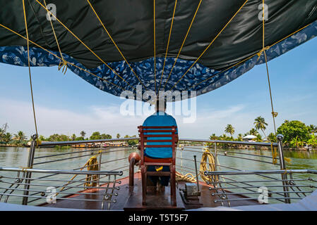 Horizontal view from a traditional riceboat in Kerala, India. - Stock Image