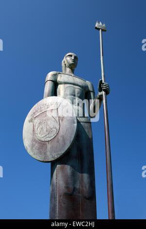 Large Bronze Statue of a Warrior on Menton Harbour, Menton, Cote D'Azure, France. - Stock Image