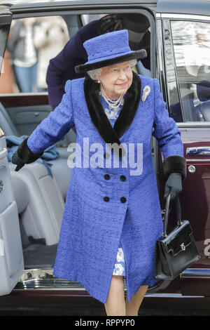 London, UK. 22nd Feb 2019. Her Majesty The Queen, Patron of The Royal Army Chaplains' Department, attending a service to celebrate the centenary of the granting by King George V of the prefix 'Royal' to the department, at The Guards' Chapel, Wellington Barracks. Friday 22nd February, 2019. Credit: amanda rose/Alamy Live News - Stock Image