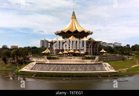 Drone view of Sarawak river and State Legislative Assembly, Kuching, Borneo, Malaysia, Asia - Stock Image