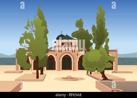 A vector illustration of Al-Aqsa Mosque in Jerusalem - Stock Image