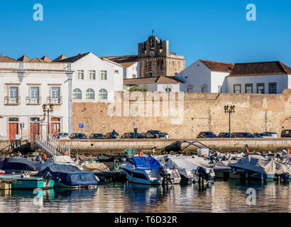 View over Marina towards Se Cathedral, Faro, Algarve, Portugal - Stock Image