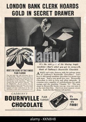 1939 UK Magazine Cadburys Bournville Chocolate Ad - Stock Image