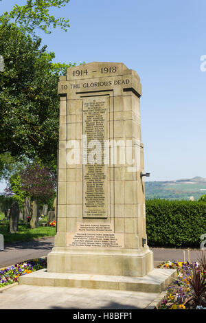 The war memorial in the cemetery in the village of Blackrod, near Bolton, Lancashire, inscribed with first world - Stock Image