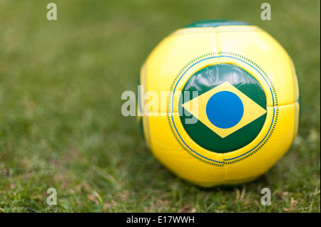 Football with Brazil flag for Brazil World Cup 2014. - Stock Image