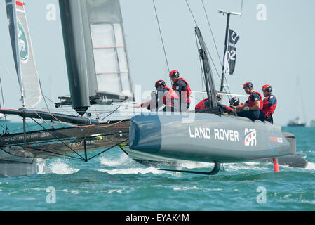 Portsmouth, UK. 25th July 2015. Landrover BAR crew in action as they approach a windward mark during race two of - Stock Image