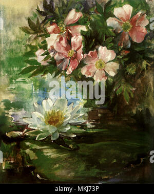 Roses and Water LIly - Stock Image
