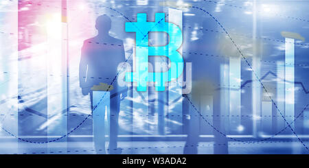 Bitcoin and diagram. Crypto Icon on futuristic background. Trading exchange stock market investment. - Stock Image
