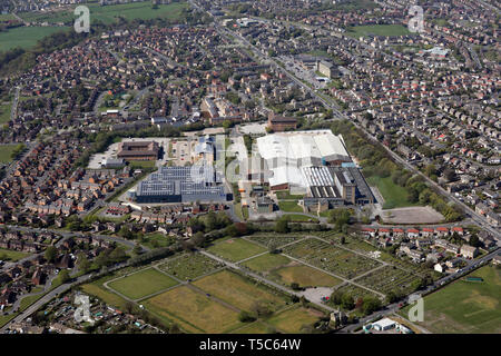 aerial view of Bulmer & Lumb manufaturing factory & Sonoco Consumer Products Ltd, Bradford, West Yorkshire - Stock Image