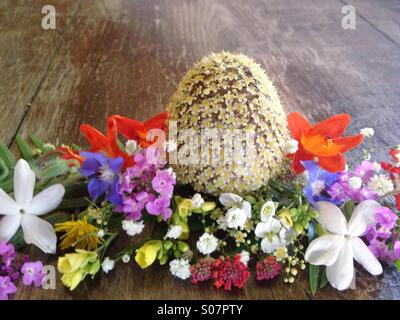 Easter egg with flowers - Stock Image