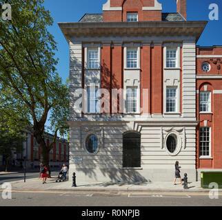 Facade elevation on Chelsea Manor Street. 224 - 226 Kings Road, London, United Kingdom. Architect: Horden Cherry Lee Architects Ltd, 2018. - Stock Image
