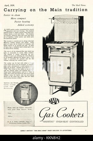 1939 UK Magazine Main Cookers Advert - Stock Image