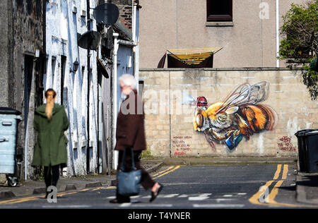 A piece of street art by Andrea Castignino that features in this year's Nuart Aberdeen Festival. - Stock Image