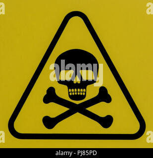 Sign with a skull and bones warning of deadly danger. - Stock Image