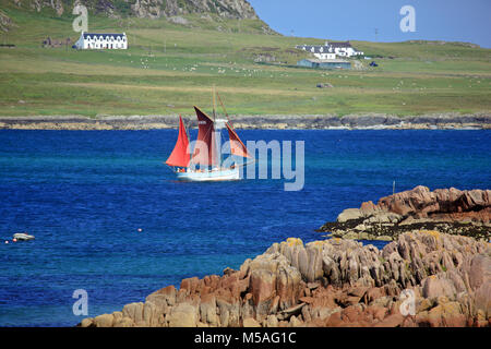 Traditional wooden fishing boat, Birthe Marie, which offers sailing trips from Iona, in the Sound of Iona, Inner - Stock Image