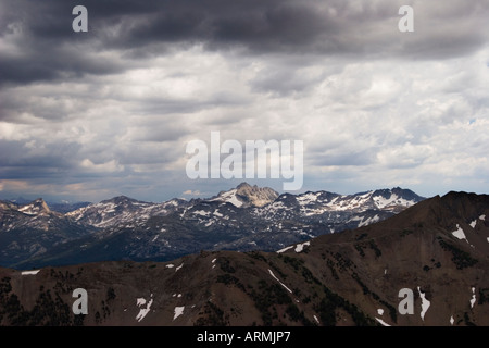 Storm clouds over the Sierra Nevada Mountains as seen from the pass above Leavitt Lake, Toiyabe National Forest, California, USA - Stock Image